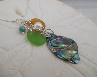 Abalone Shell Sea Glass Necklace Jewelry Seashell Pendant Beach
