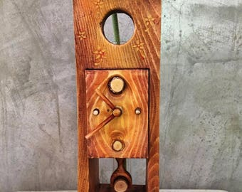 Clock, Handmade Wooden Clock, Desk Clock, Table Clock, Hand painted in acrylic