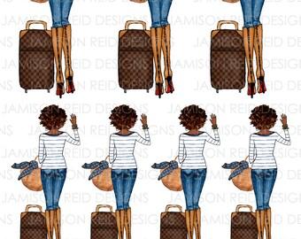 Travel girl stickers - Choice of hair/skin tone