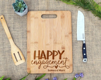 Happy Engagement Cutting Board, Personalized, Custom, Cheese Board, Laser Engraved, Engagement Gift, Wedding, Shower, Engagement party gift