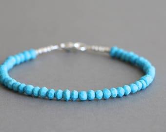 Turquoise Bracelet Gemstone Bracelet Stacking Bracelet December Birthstone  Gift for Her