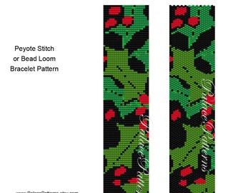 Holly on Black Background Bead Loom and Peyote Stitch Pattern, Holly Delica Bead Pattern, Holly on Black Beadweaving Pattern
