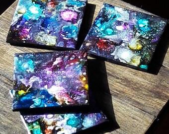Galaxy inspired  ceramic coasters