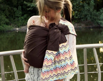 Linen Ring Sling Baby Carrier Baby Sling - Rainbow Chevron- Perfect for Summer Babywearing -Conforms To Your Baby's Shape Newborn to Toddler
