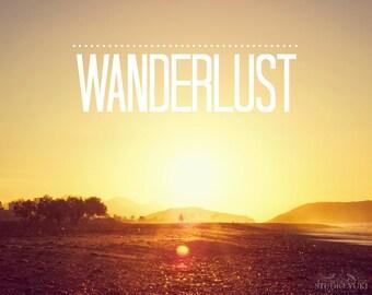 Wanderlust Print, Beach Photography, Boho Wall Art, Gold, Sunrise, Motivational Quote, Ocean, Spain, Travel Art, Sunset, Bohemian Home Decor