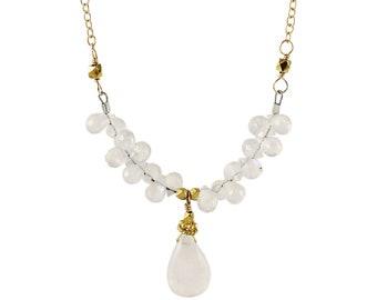 Gold Moonstone Teardrop Necklace