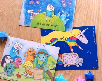 Set of 3 Mathematical Adventure Time postcards!