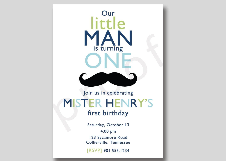 Little Man Mustache Birthday Invitation Custom DIY Printable