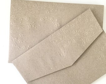 DIY Rustic Wedding Envelopes 10 Pk Cherry Blossom Embossed Kraft Brown A7 Envelopes Invitation Size 5x7 Inch envelopes Eco Friendly Recycled