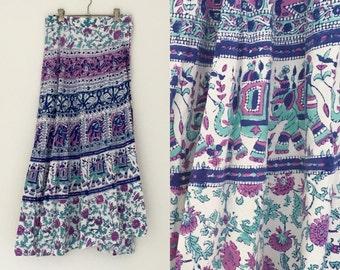 Vintage 1970's Indian block print cotton maxi  wrap skirt Boho Hippie Festival dress Turquoise Purple Blue one size