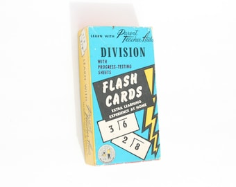 Number Flash Cards, Vintage Math Flashcards, Math Flash Cards, Gift for teacher, Division Math Game, Vintage School Supplies, Flash Card Set