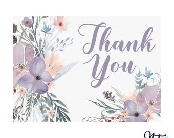 Digital Printable Thank You Notes, Thank You Card, Bridal Shower, Baby Shower, Wedding - Floral, Pastel, Lavender, Watercolor - 5x7 TY001