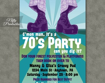 70's Party Invitations - Printable 1970s Theme Party Invitation - Disco Party Invites - Costume Party