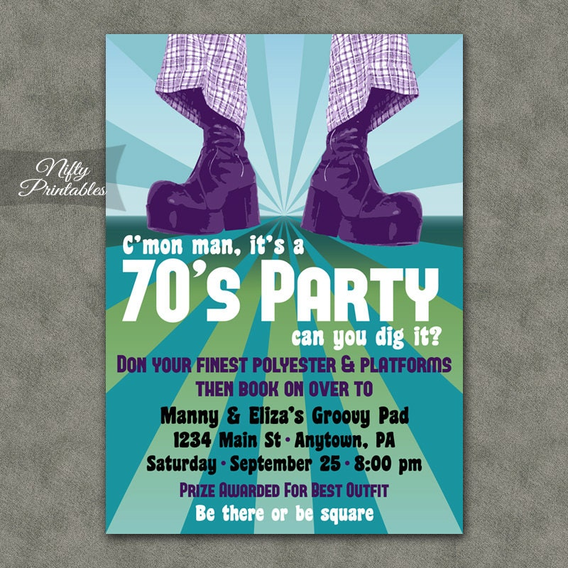 70\'s Party Invitations Printable 1970s Theme Party