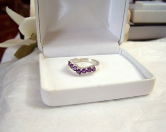 African Amethyst Ring Sterling Silver Authentic Vintage Chevron Design Anniversary Style Genuine Gemstone Ladies Size 5