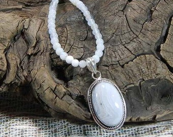 """Pale blue lace agate necklace 21"""" long removable oval pendant lilac purple semiprecious stone jewelry packaged in a colorful gift bag  10795"""