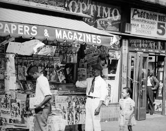 1939 Harlem Newspaper Stand New York Vintage Photograph 85 X 11 Reprint