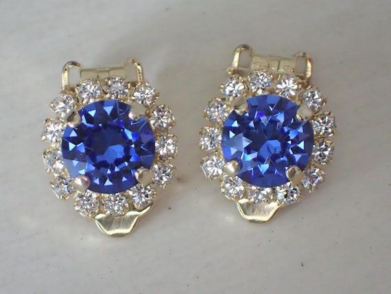 Sapphire & Clear Swarovski Crystal Halo Clip On Earrings, Yellow Gold