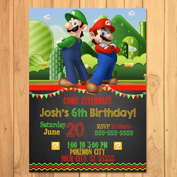 Super Mario Brothers Invitation Chalkboard Super Mario