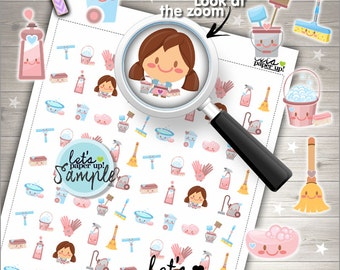 60%OFF - Clean Up Stickers, Printable Planner Stickers, CleanUp Stickers, Kawaii Stickers, Chore Stickers, Cleaning Stickers, Clean