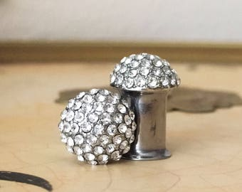 Silver Sparkly Plugs, gauges   0g, 00g, 7/16