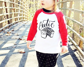 Cutie Pie Kid's Tee Shirt - American Apparel - Baseball Tshirt - Size 6 - Hand lettered drawn for Dear Seed -Tee Pee -TeePee