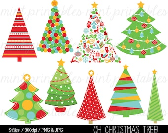 Christmas Clipart, Christmas Tree Clip Art, Christmas Trees, Ornaments, Decorations Red Green - Commercial & Personal - BUY 2 GET 1 FREE!