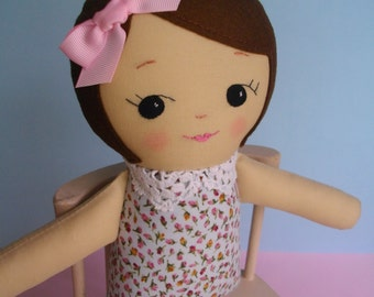 Classic Rag Doll with light brown / Olive skin - Adorable cloth doll Ragdoll plushie gift for girls- Made to Order