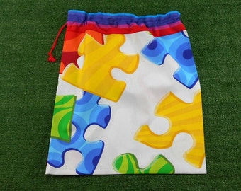 Large drawstring bag for library, school or toys, giant coloured jigsaw pieces, kids drawstring bag