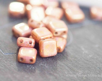 20 Opaque Rose Gold Topaz 6mm Double Hole Square Czech Glass Beads (S216)