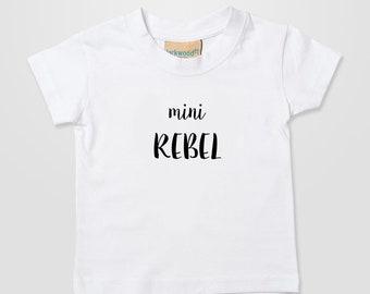 Mini Rebel Momma Papa Fun Kids Baby Home Cute Xmas Gift T Shirt Top Tee Boy Girl 0-6 months - 3-4 years