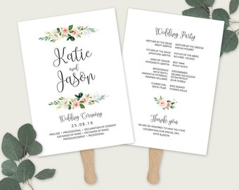 Floral Wedding Ceremony Program, Ceremony Fan with roses, Elegant Ceremony card, Editable Template Printable, Templett, ETHR