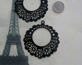 Laser Lace Filigree Finding (50mm) Black Plated Brass (2)