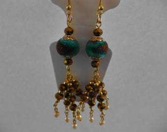 Bohemain earrings with faceted beads and golden ear hook