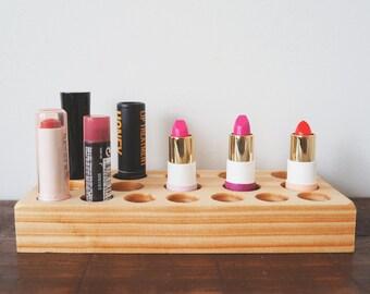 Wood lipstick organiser - Makeup organizer  Lipstick holder Lipstick display Makeup organiser Lipstick storage Australia