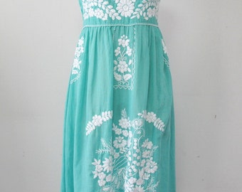 Mexican Embroidered Sundress Cotton Strapless Dress With Lining