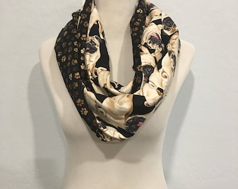 Pug scarf with paw prints