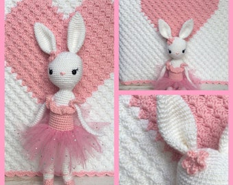 Crochet baby blanket with matching bunny ballerina keepsake