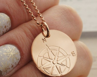 Rose Gold Filled Compass Necklace - Compass Pendant in 14K Pink GF - Custom Hand Drawn Design by EWDJewelry - Inspirational Graduation Gifts