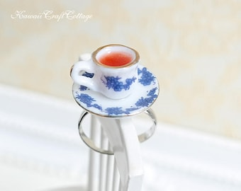 Teacup Ring Miniature Food Jewelry Porcelain Tea Cup Ring Beverage Whimsical Cute Kawaii Statement Ring Free Size Open Ring Foodie Gifts