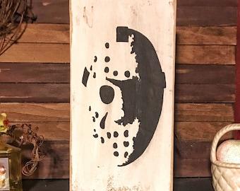 Horror decor Friday the 13th Jason Mask Jason Voorhees Horror Art Halloween Halloween sign Halloween decor Custom Wood Sign Rustic Wood Sign