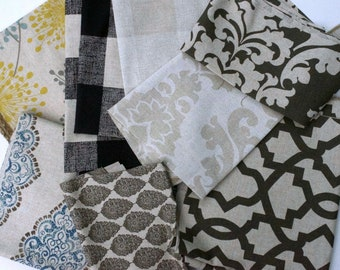 Linen Fabric Scraps Bundle , Collins Irish Daisy, Anderson Buffalo Check Black, Cloud, Berlin, Cave,Sheffield, Home Decor Premier Prints