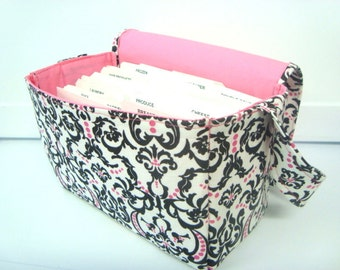 "Large 4"" Size Fabric Coupon Organizer Holder Box- White with Black and Pink Damask"