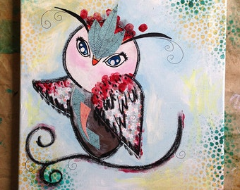 HOW TO: Whimsical Mixed Media Owl Canvas Step-by-Step Instructions PDF