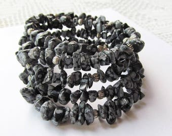 Memory Wire Bracelet of Gemstone Chip Beads