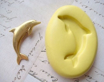DOLPHIN - Flexible Silicone Mold - Push Mold, Jewelry Mold, Polymer Clay Mold, Resin Mold, Craft Mold, Food Mold, PMC Mold