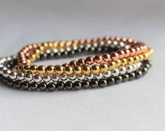Metal Accent Bracelet - Stretch Bracelets - 4mm Beads - Gold Bracelet - Rose Gold Bracelet - Gunmetal Bracelet - Silver Bracelet - Bracelets