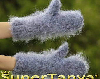 Made to order hand knitted thick and fuzzy mohair mittens in gray by SuperTanya