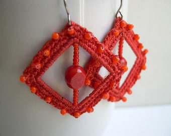 Orange Square earrings - Lace earrings - Crochet Earrings - girlfriend gift - made in America - Unique fashion earrings - Original earrings