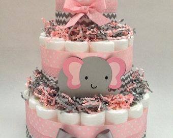 Chevron Elephant Diaper Cake | Diaper Cake | Diaper Cakes | Pink and Gray Diaper Cake/Unique Diaper Cake/Baby Shower Centerpiece
